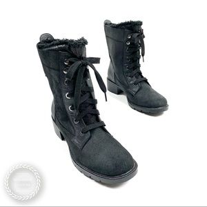 SPORTO Suede Lace Up Faux Fur Moto Winter Boots